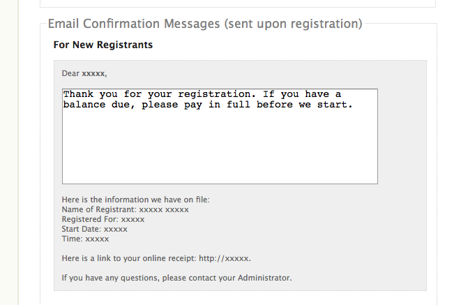 Custom Email Confirmation