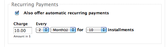 Recurring Payments Screenshot